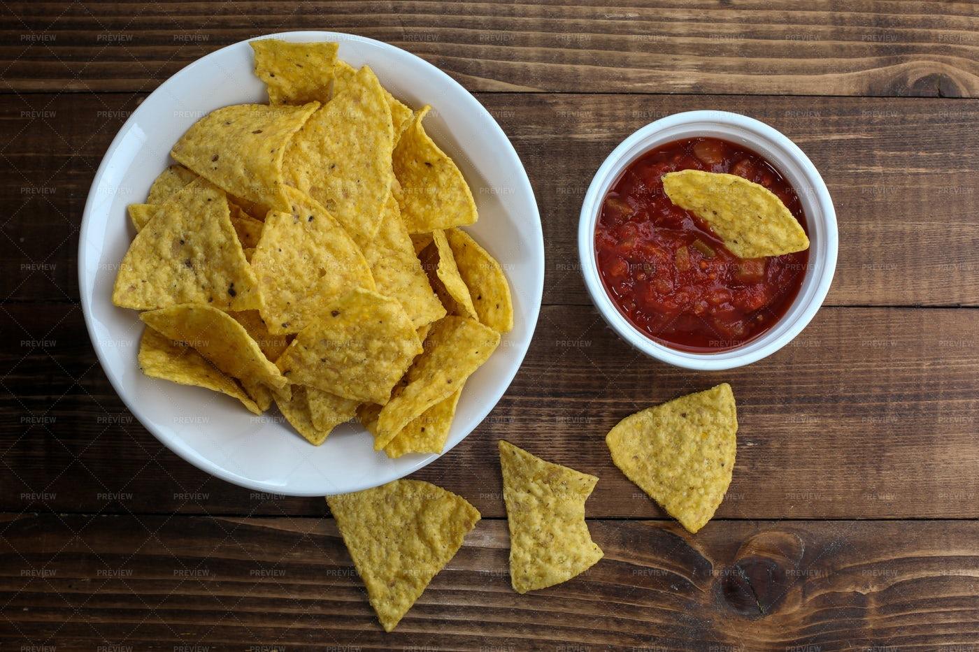 Tortilla Chips With Salsa: Stock Photos