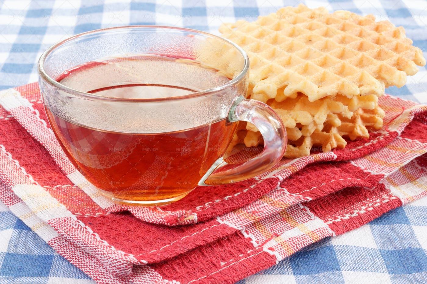 Hot Tea With Waffles: Stock Photos