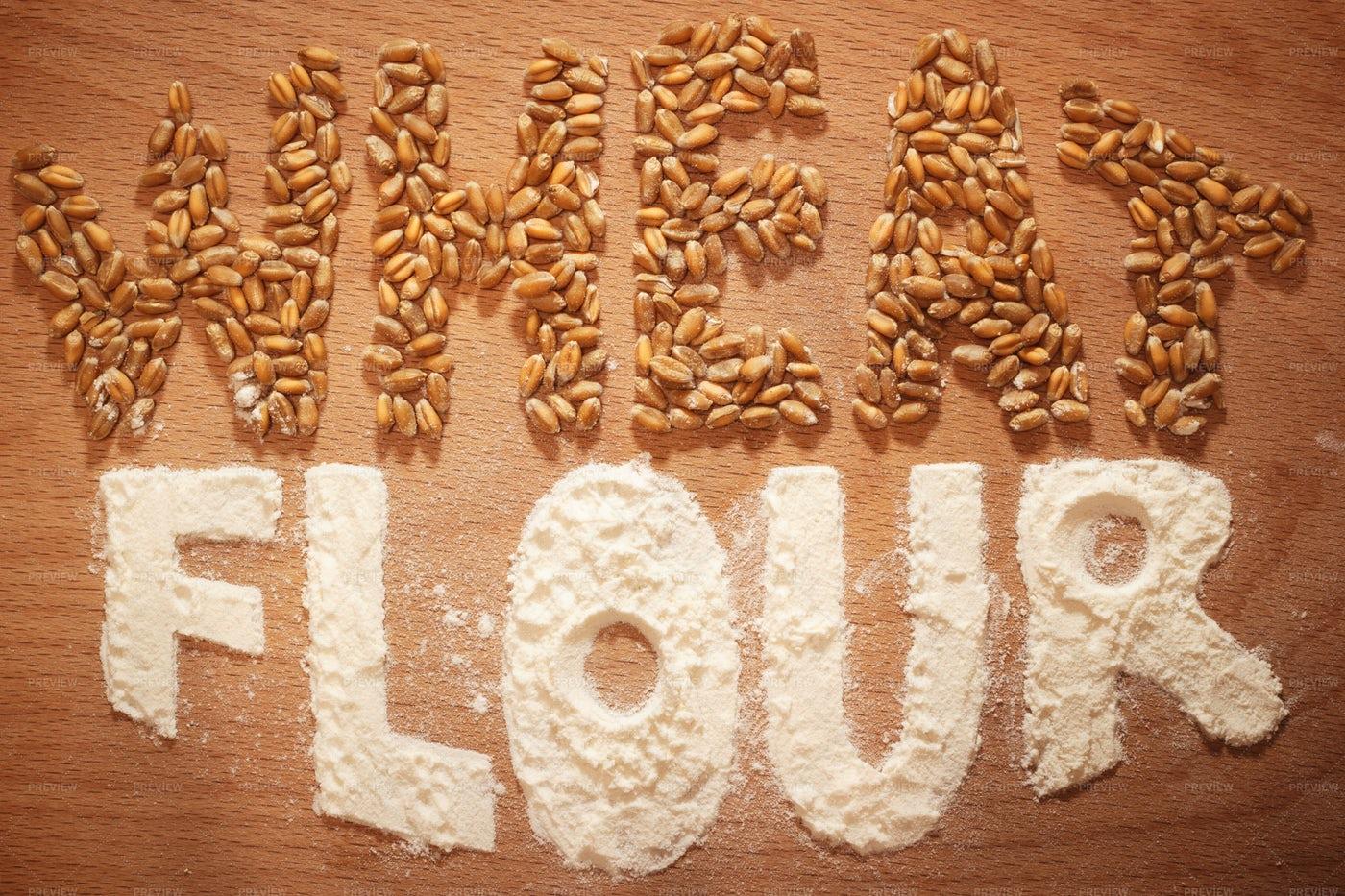 Wheat Flour Caption Collage: Stock Photos