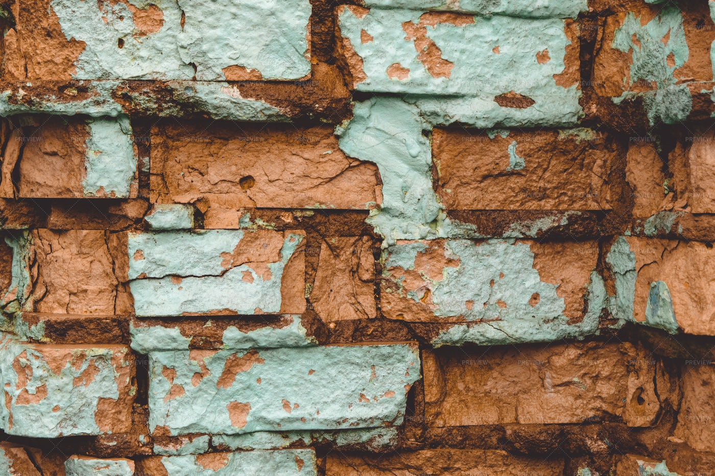 Brick Wall Stained With Cement: Stock Photos