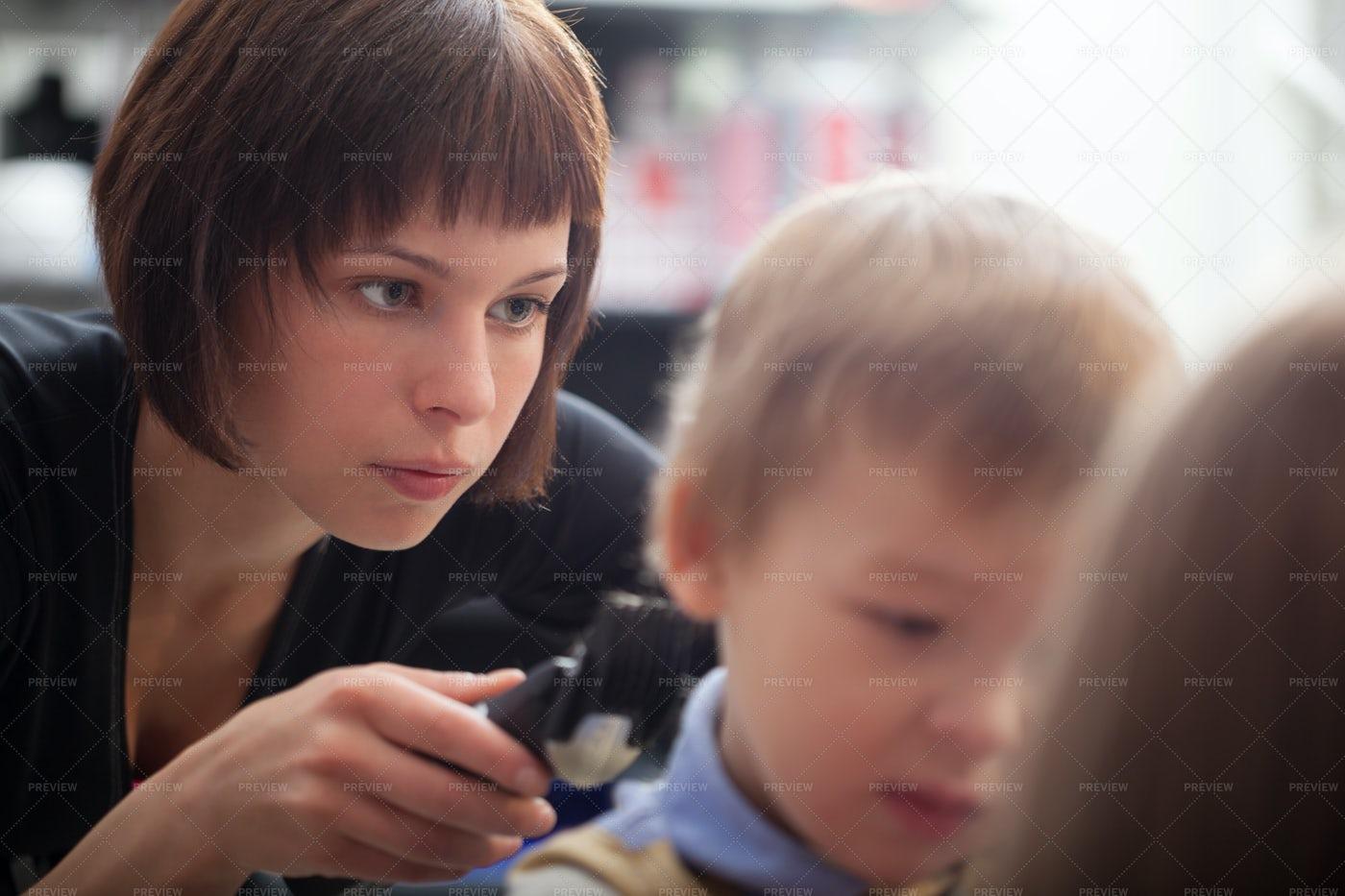 Cutting A Boy's Hair: Stock Photos