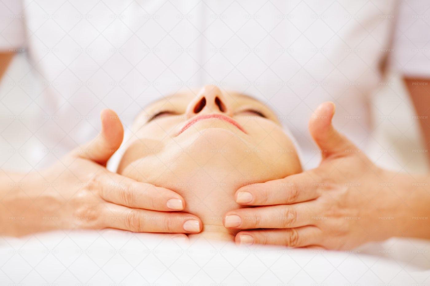Extensive Facial Massage: Stock Photos