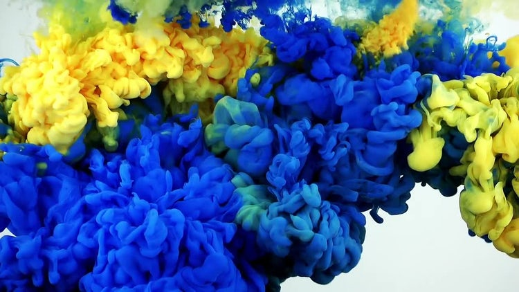 Abstract Ink Blue and Yellow: Stock Video