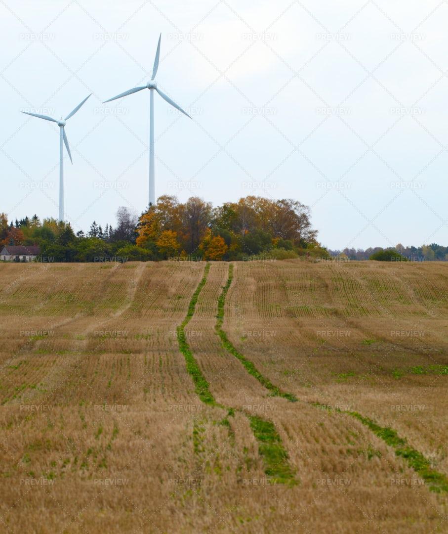 Two Wind Turbines: Stock Photos