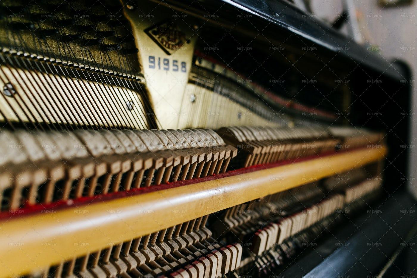 Interior Of Vintage Upright Piano: Stock Photos