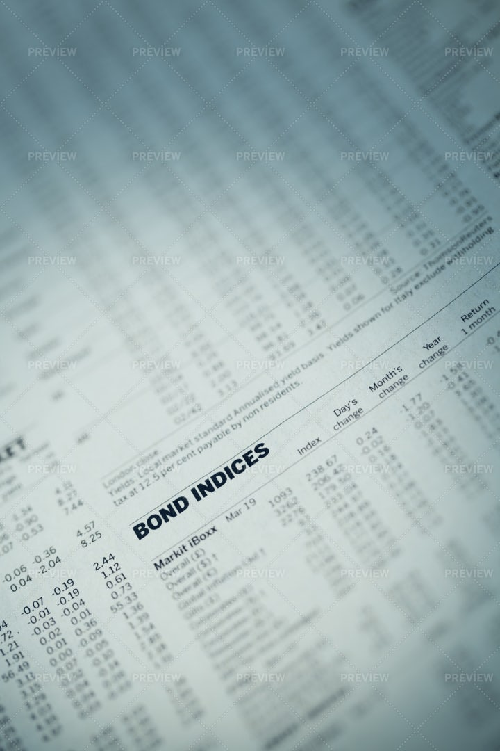 Bond Indices On A Newspaper.: Stock Photos