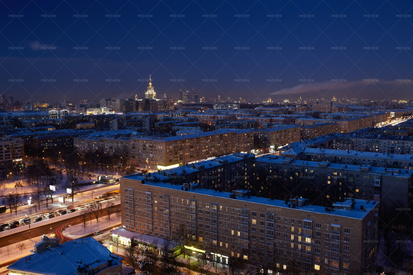 Night In Moscow: Stock Photos