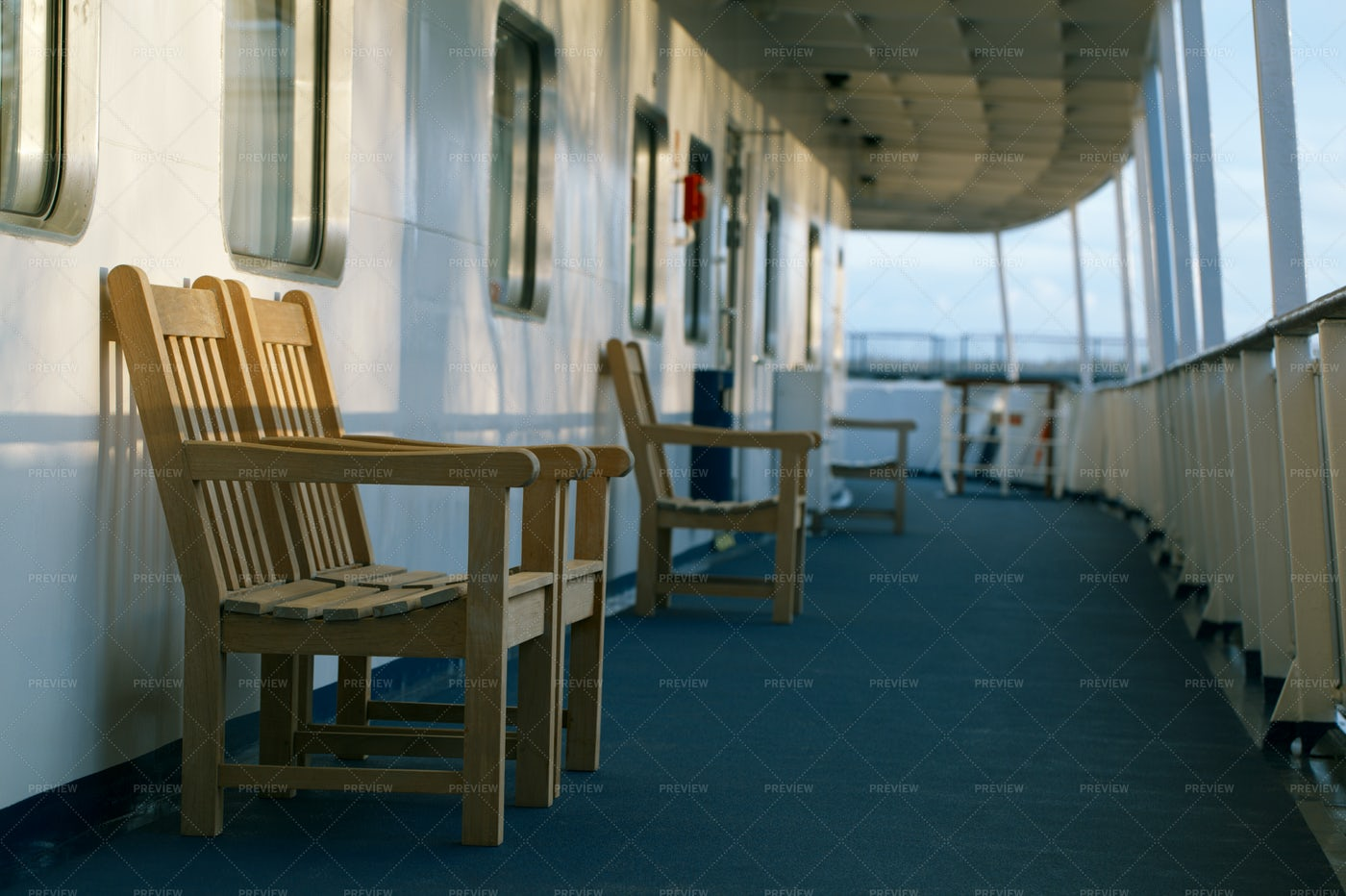 Wooden Chairs Of Cruise Line: Stock Photos