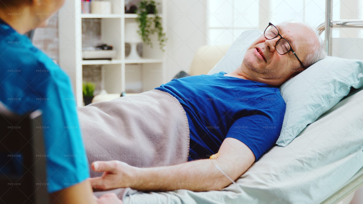 On The Nursing Home Bed: Stock Photos
