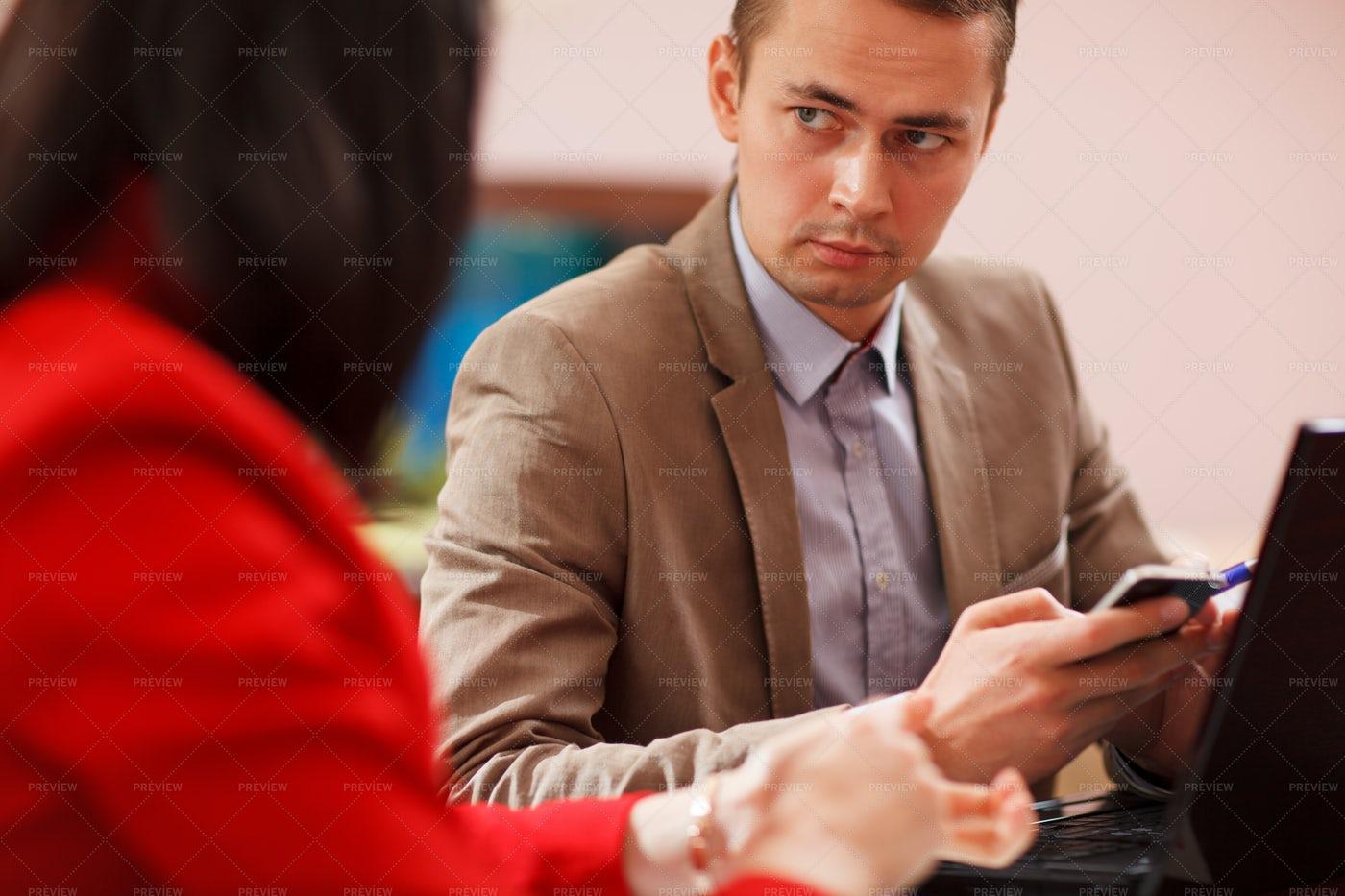 Businessman During A Meeting: Stock Photos