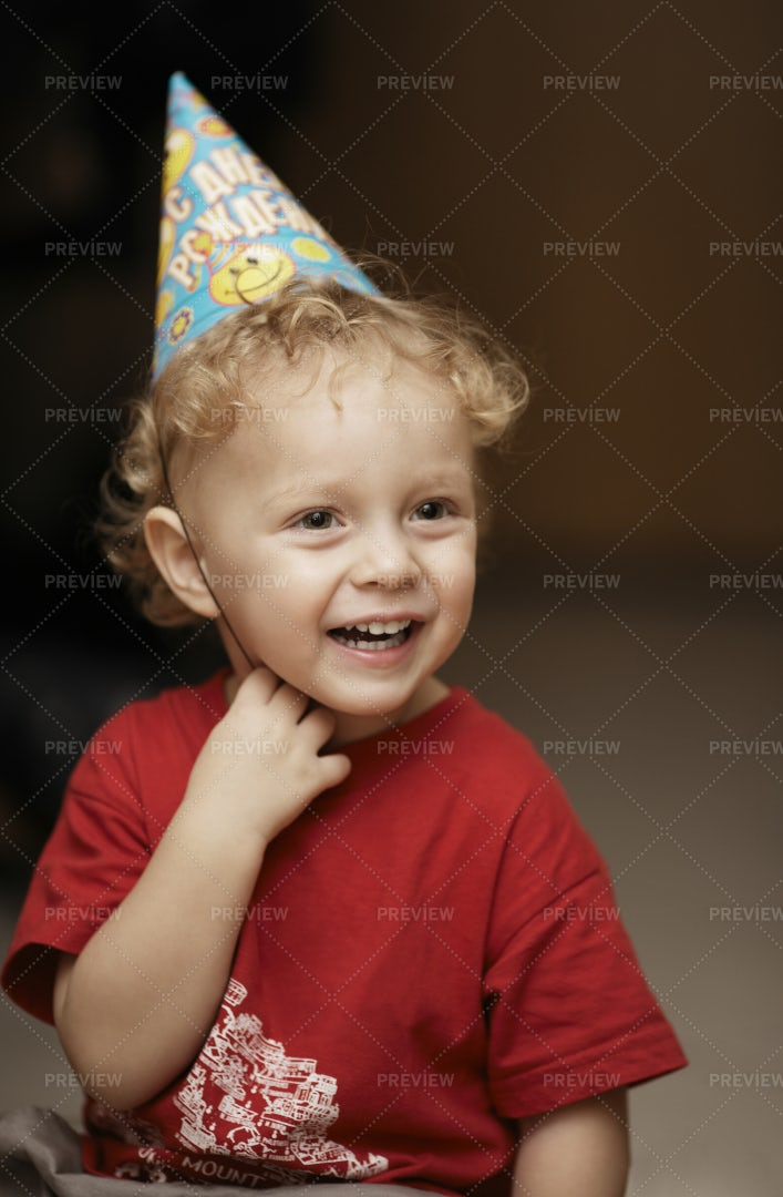 Boy In A Party Hat: Stock Photos