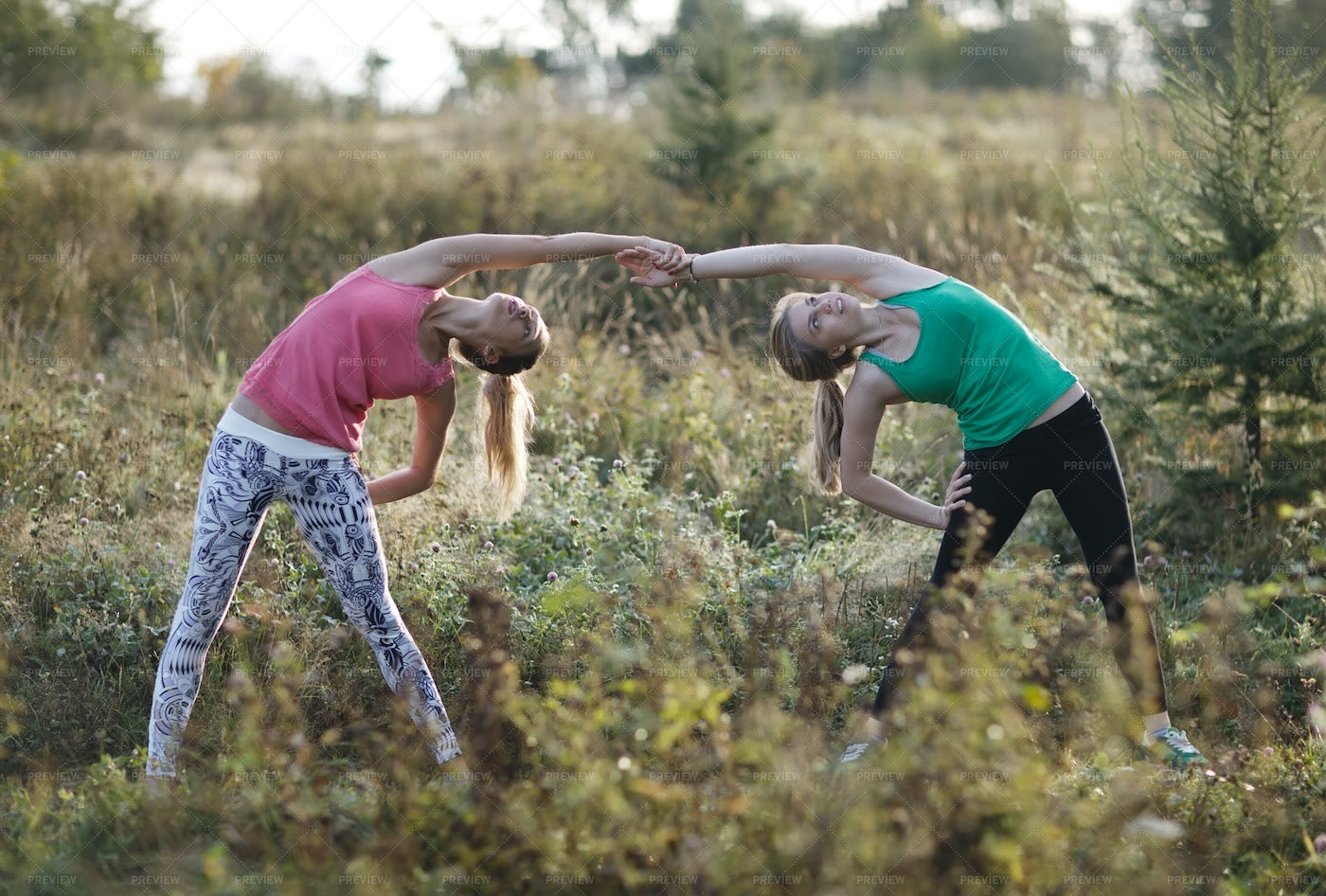 Two Supple Young Women Working Out: Stock Photos