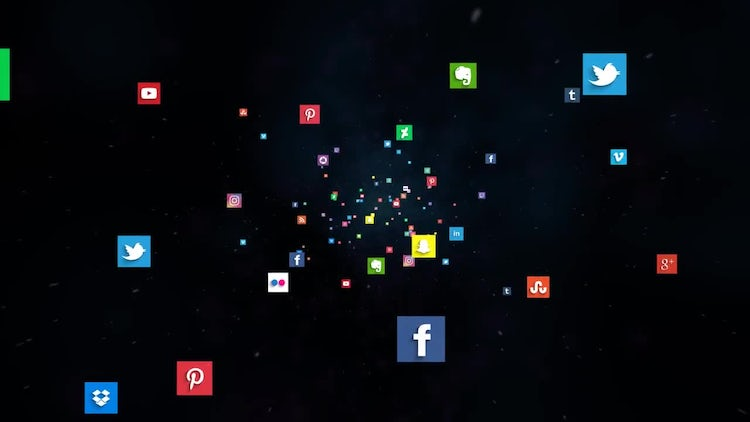 Fly Through Social Networks 4K: Stock Motion Graphics