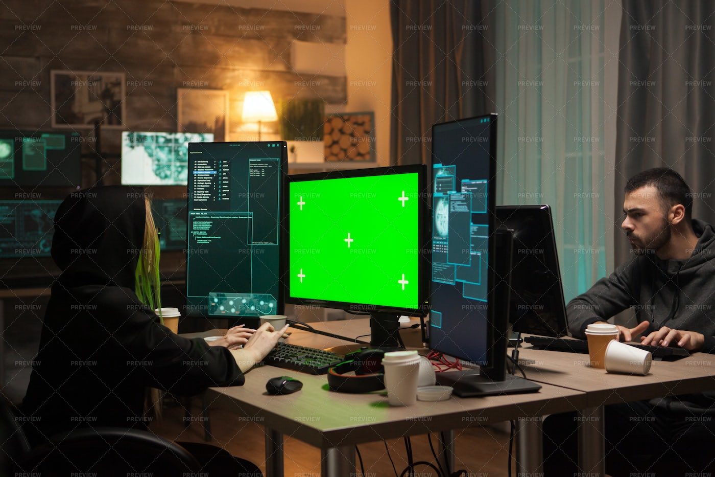 Dangerous Hackers Working From Home: Stock Photos