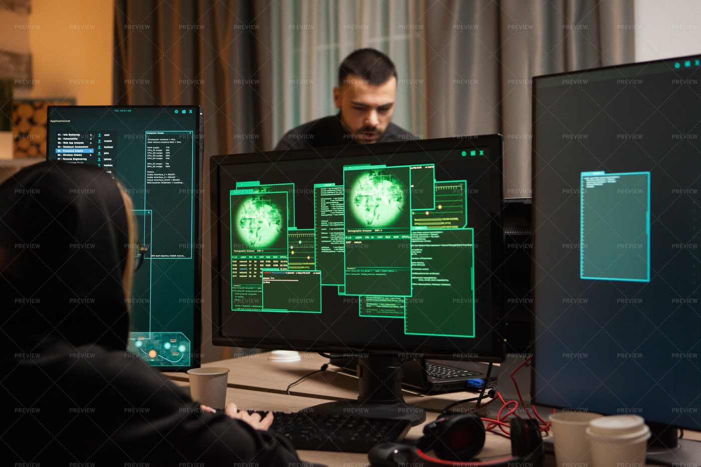 Hackers In A Room: Stock Photos