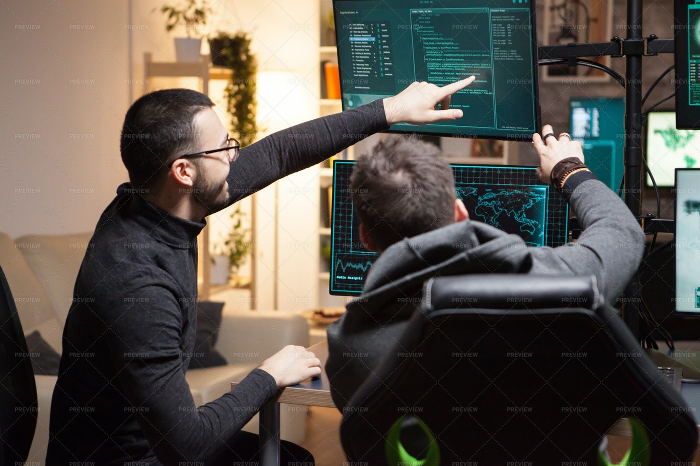 Back View Of Hackers: Stock Photos