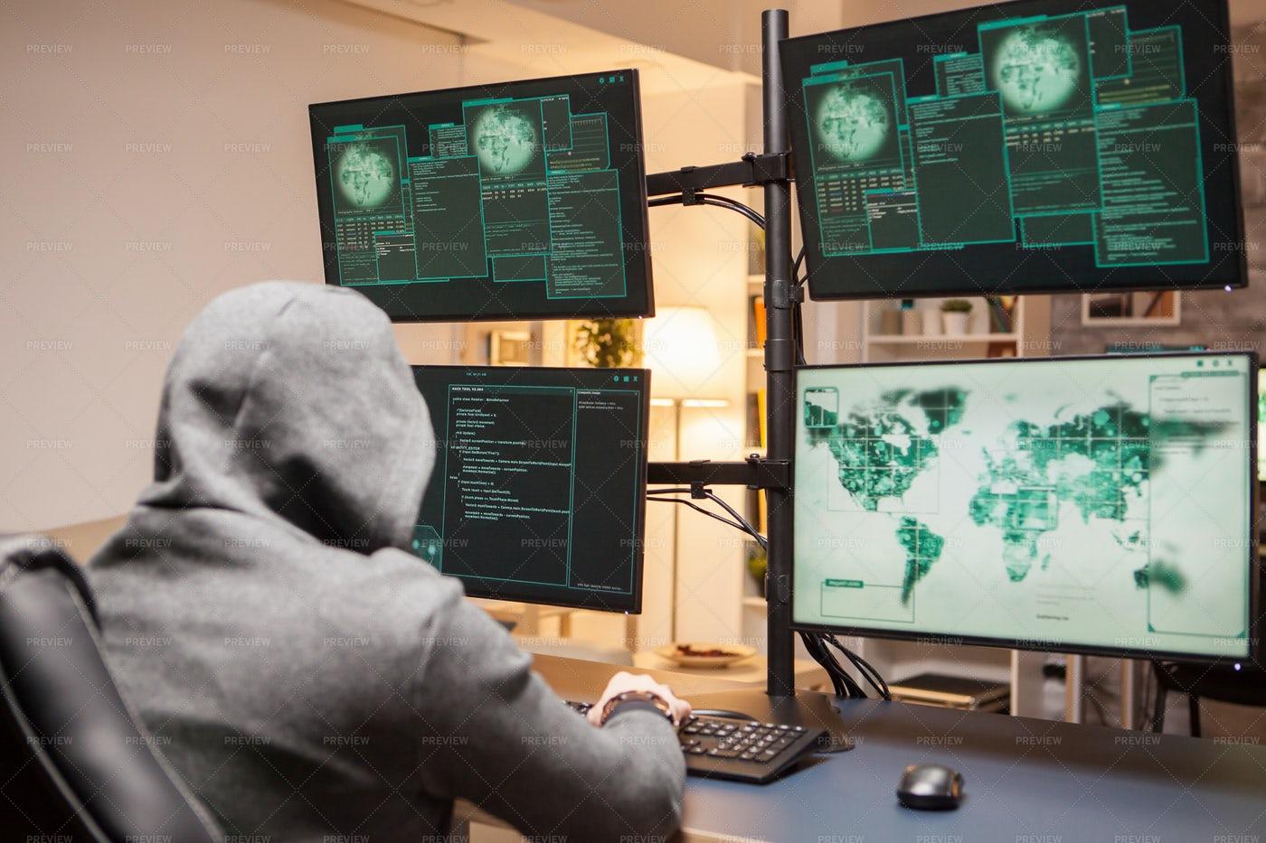 Dangerous Hacker Wearing A Hoodie: Stock Photos