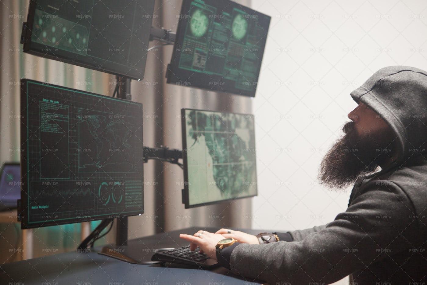 Cyberterrorist At Work: Stock Photos