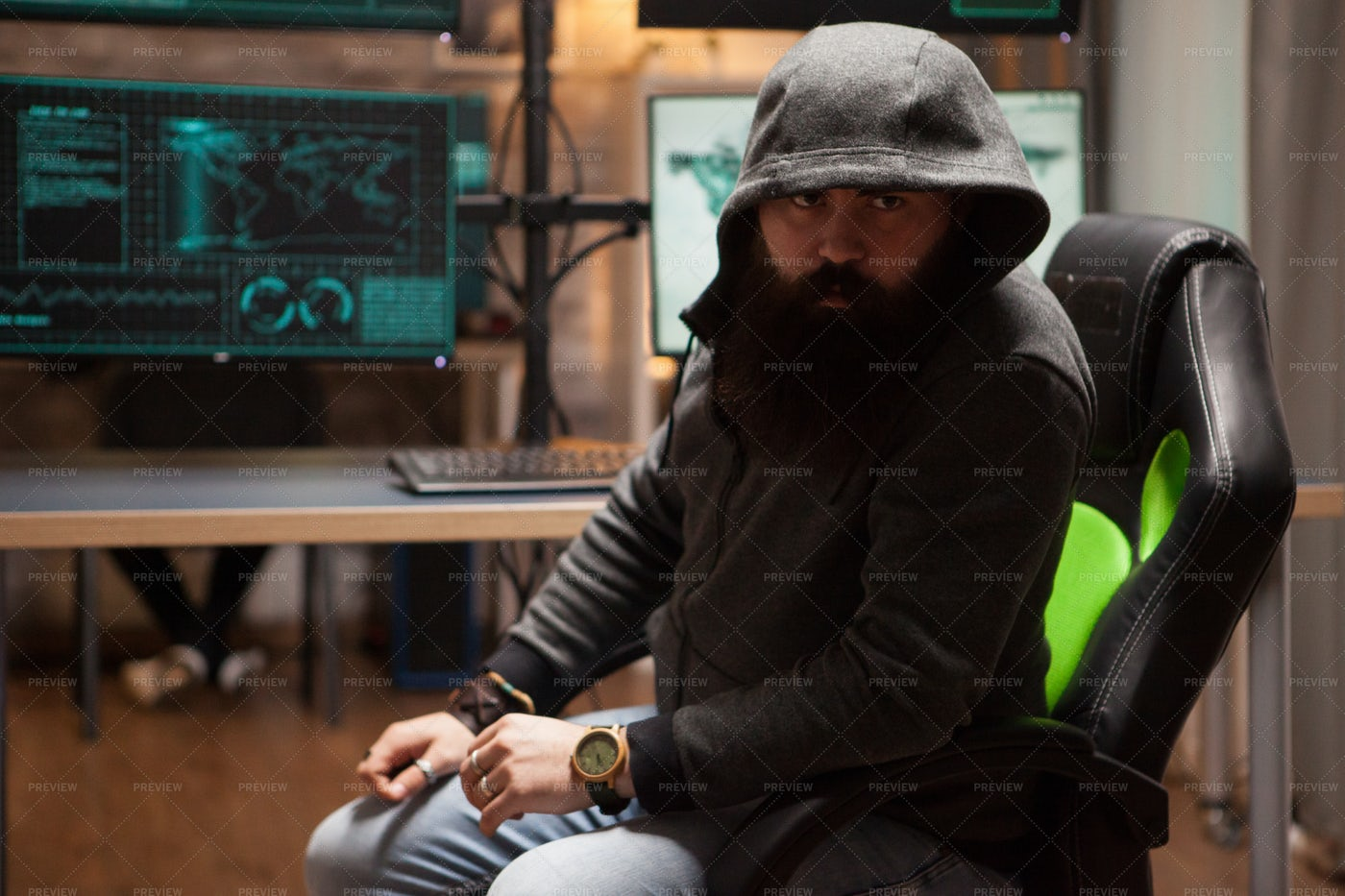 Hackers With A Hood: Stock Photos