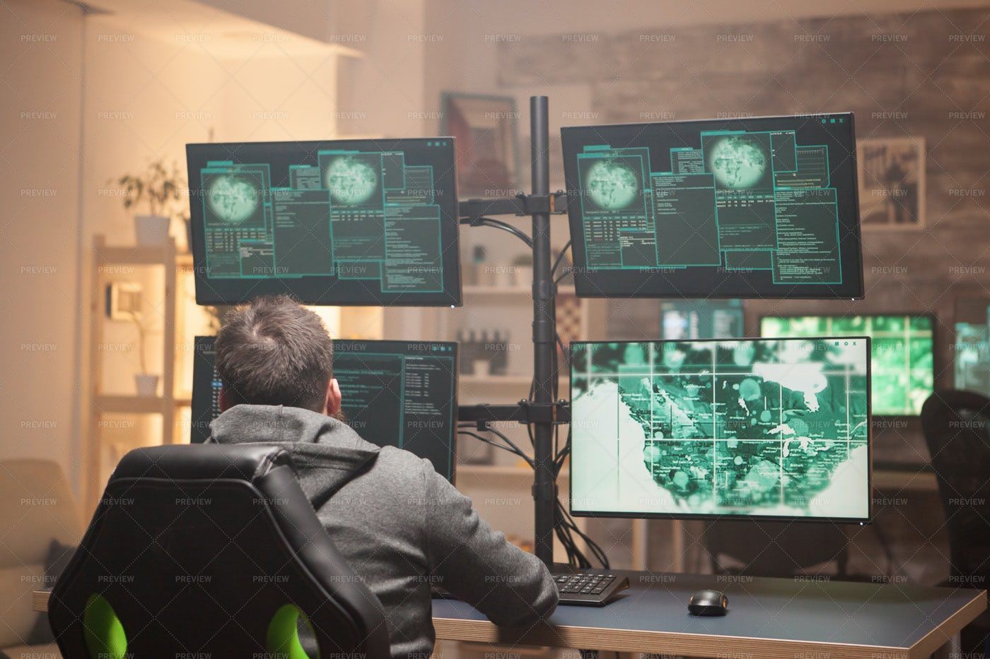 Hacker's Computer Station: Stock Photos