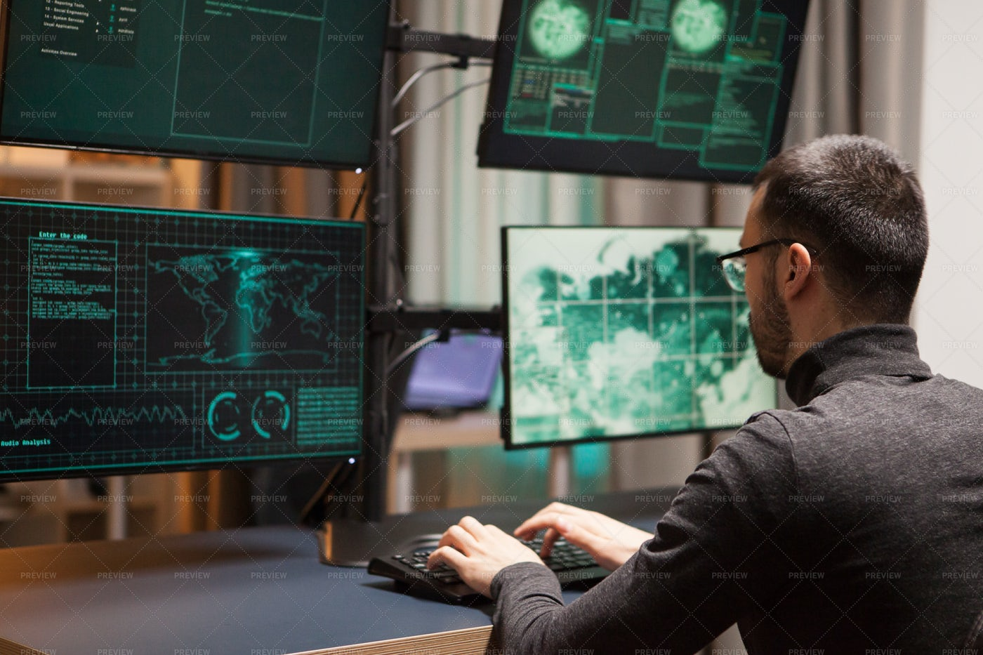 Young Hacker With Glasses: Stock Photos