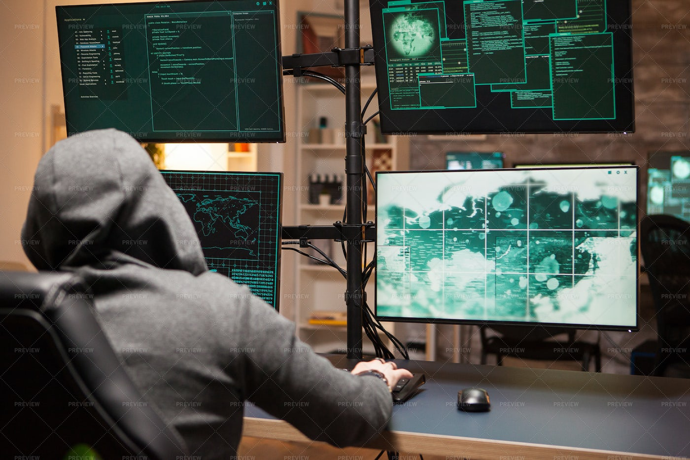 Cyber Criminal In A Hoodie: Stock Photos