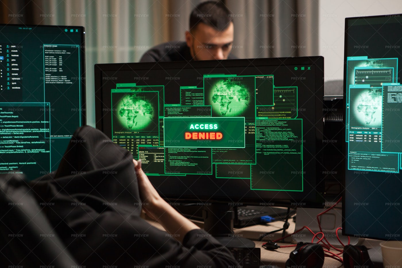 Hacker With Access Denied: Stock Photos