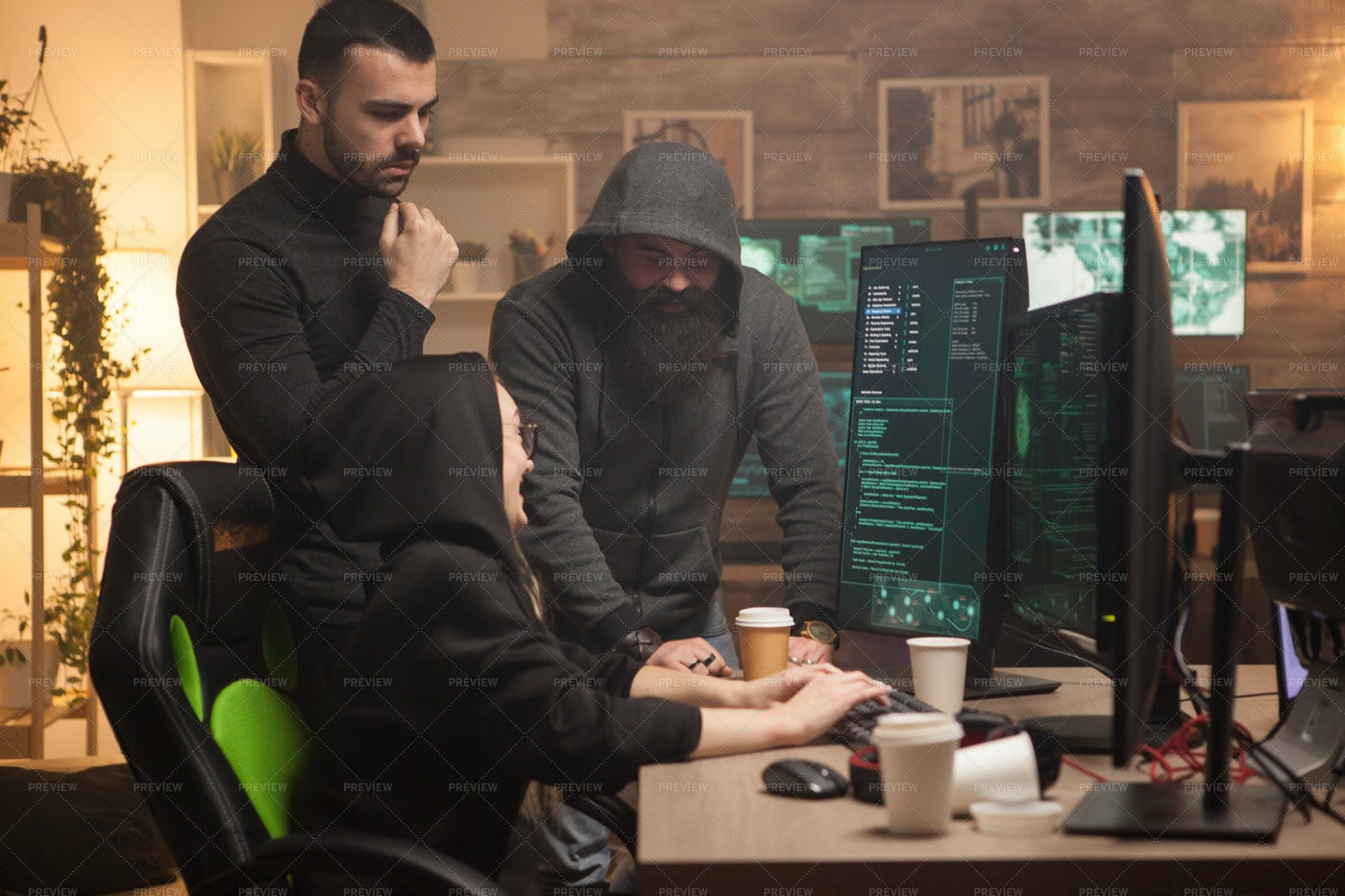 Team Of Men And Female Hackers: Stock Photos