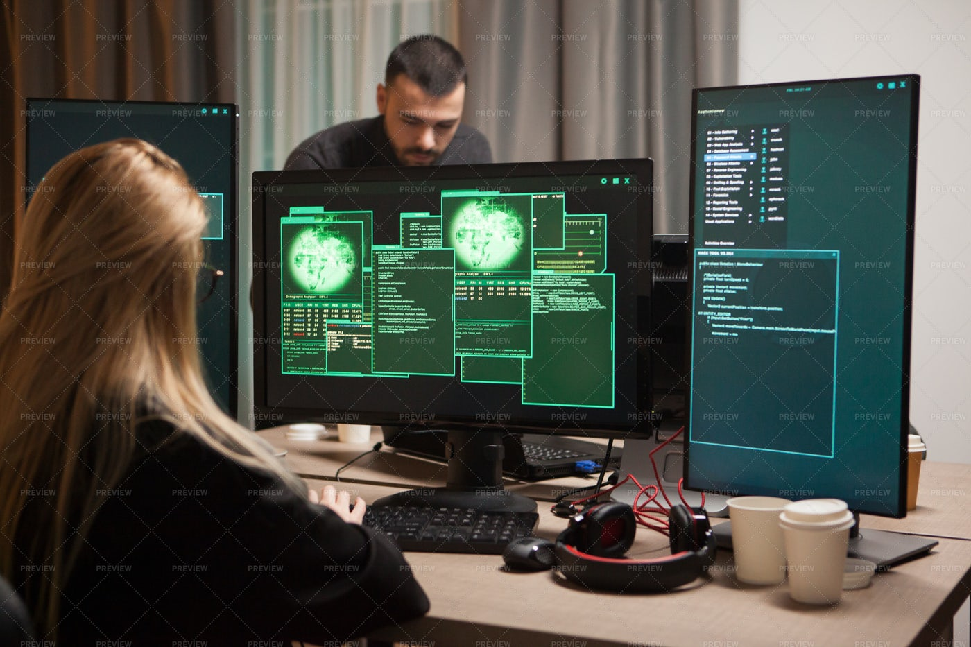 Female Hacker With Modern Computer: Stock Photos