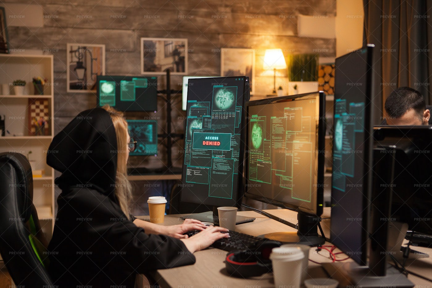 Side View Of Female Hacker: Stock Photos