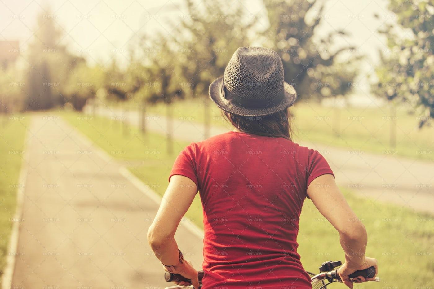 Girl Riding A Bike: Stock Photos