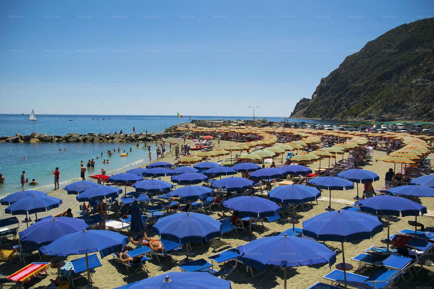 Tourist Beach In Italy.: Stock Photos