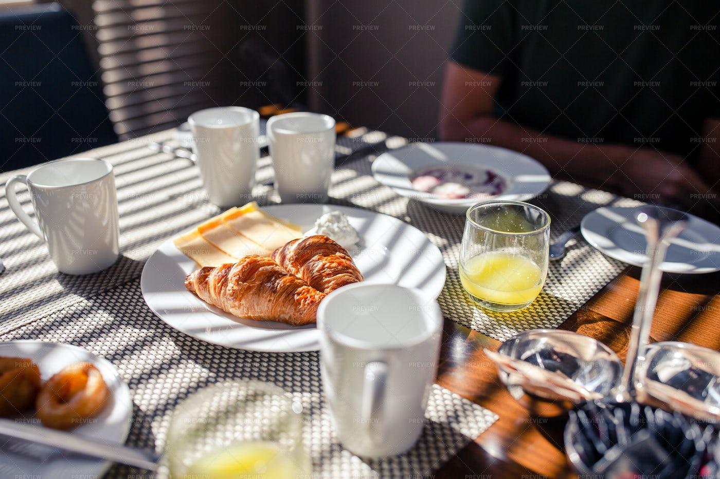 A Croissant Breakfast: Stock Photos