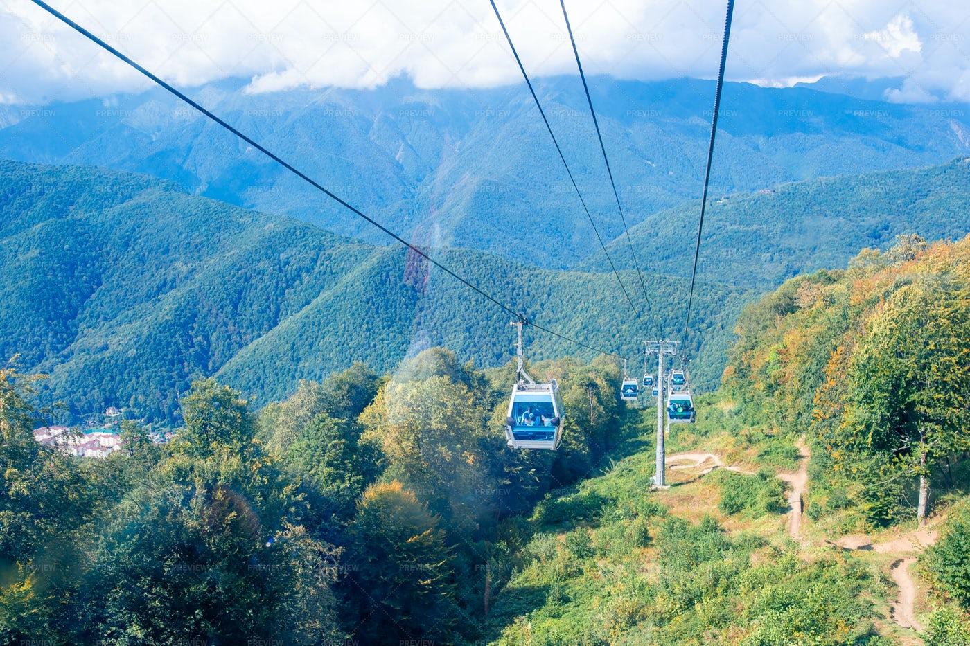 Ropeway Through The Mountains: Stock Photos
