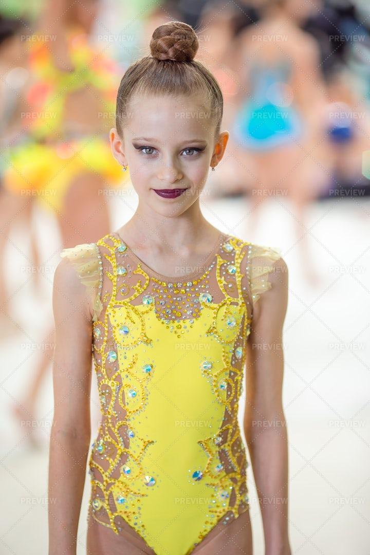 Portrait Of Little Gymnast: Stock Photos