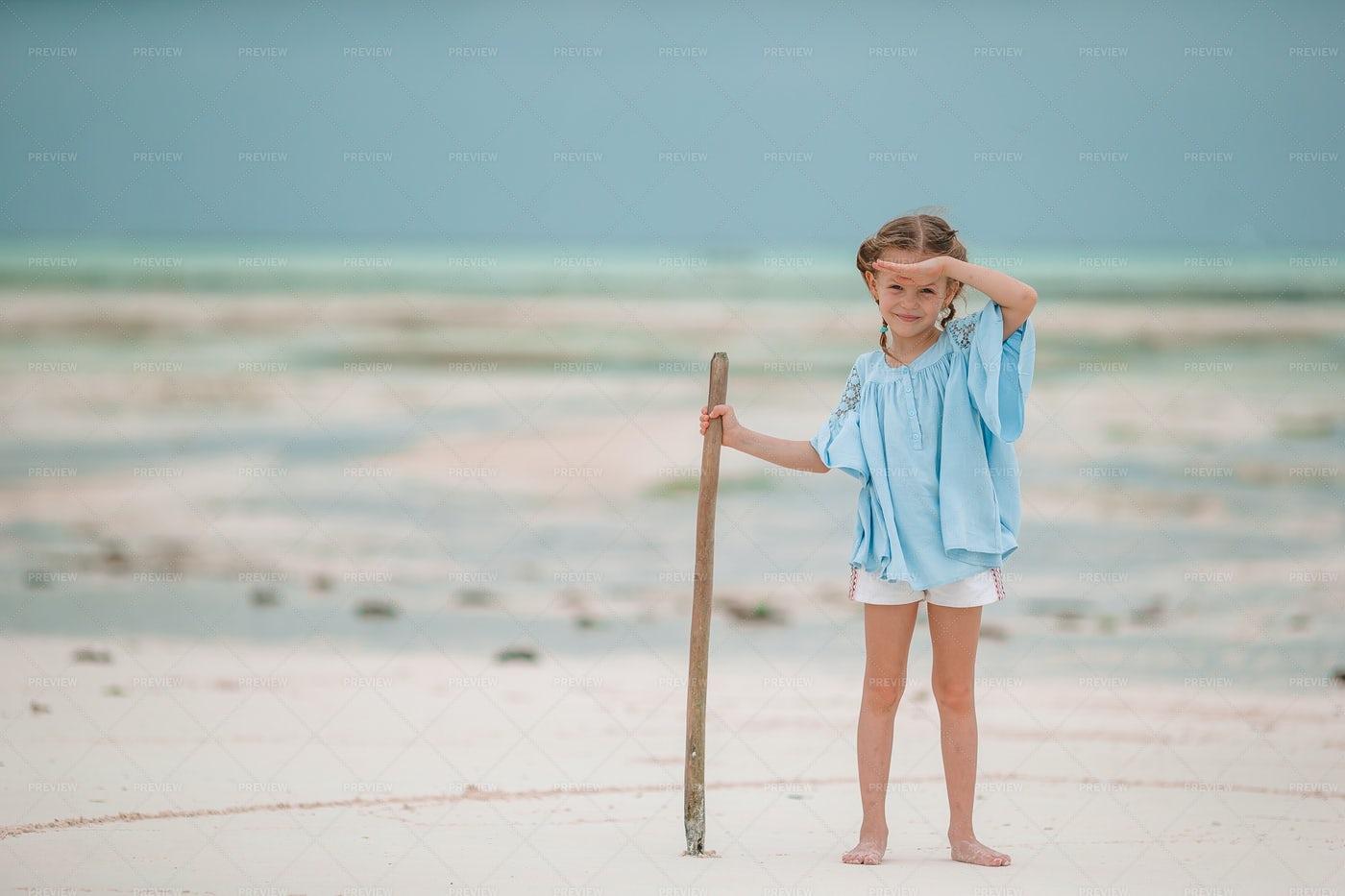 Little Girl At Beach: Stock Photos