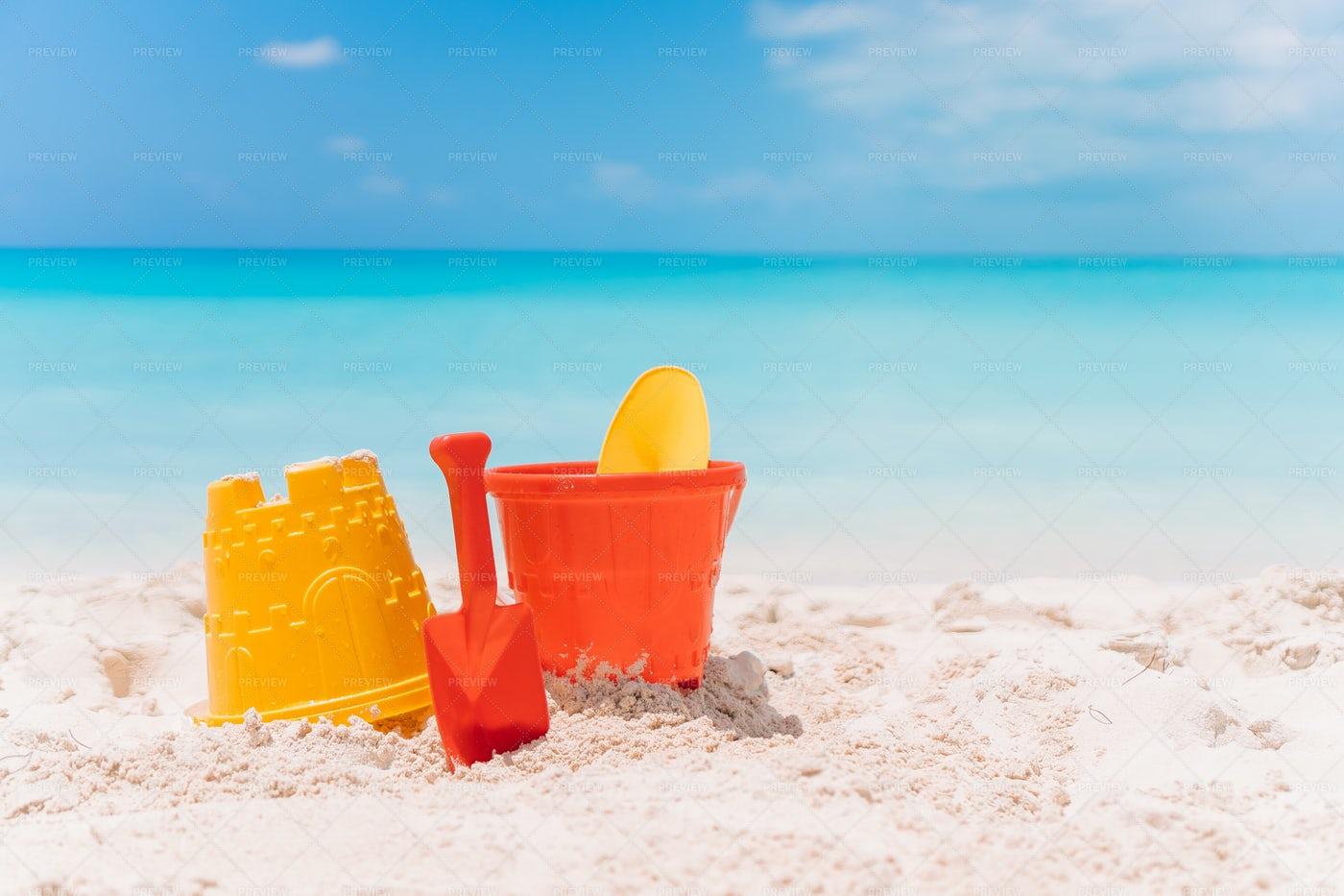 BeachToys On A White Sand Beach: Stock Photos