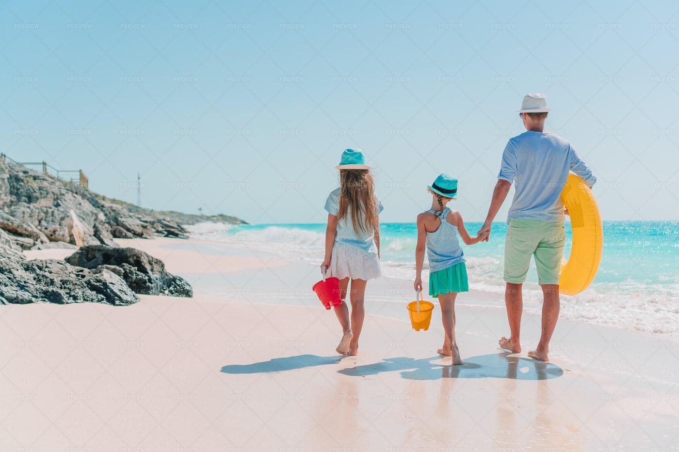 Family Caribbean Beach Vacation: Stock Photos