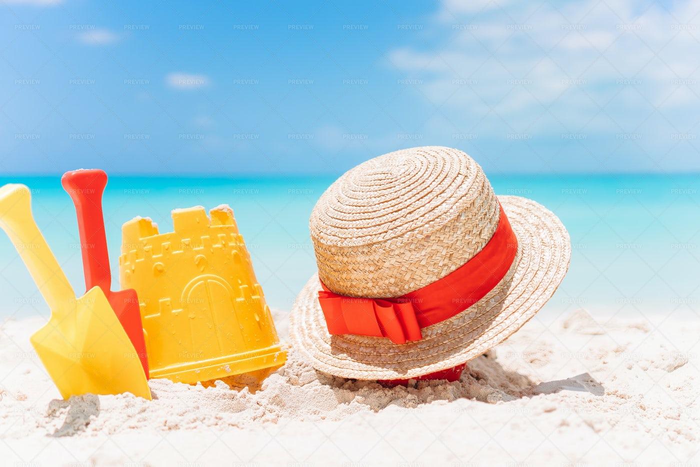Beach Kid's Toys On White Sand Beach: Stock Photos