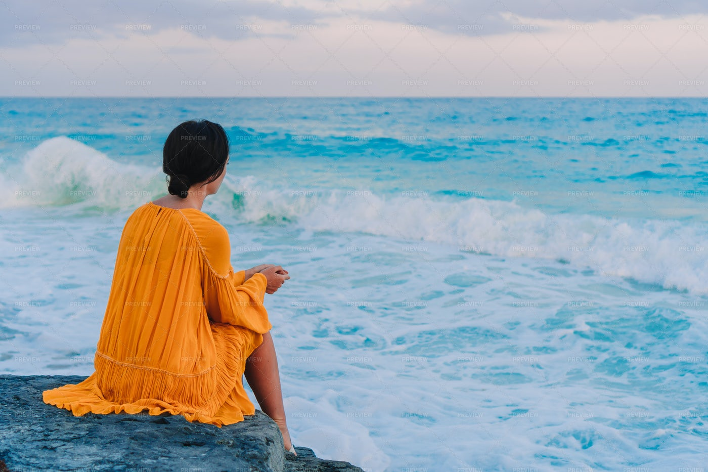 Relaxed Woman In Front Of The Beach: Stock Photos