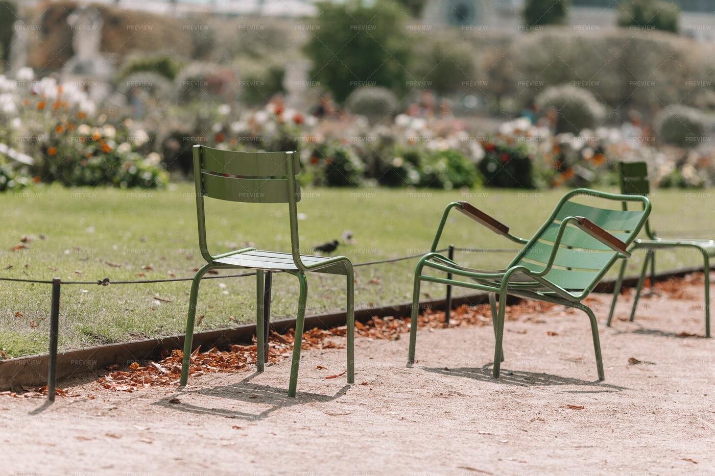 Green Chairs In A Garden: Stock Photos