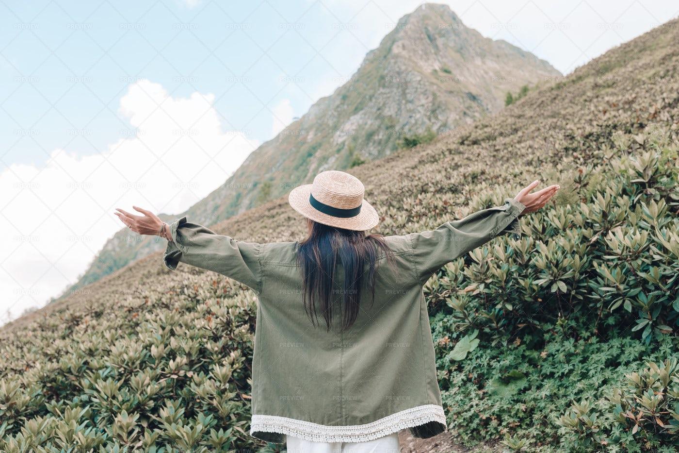 Enjoying The Mountain View: Stock Photos