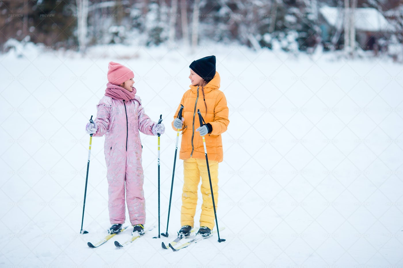 Skiing In The Mountains: Stock Photos