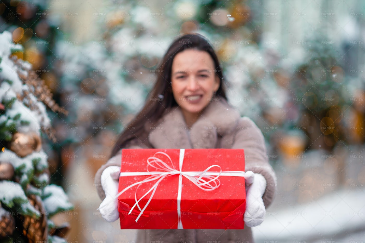 Girl With A Present In The Snow: Stock Photos