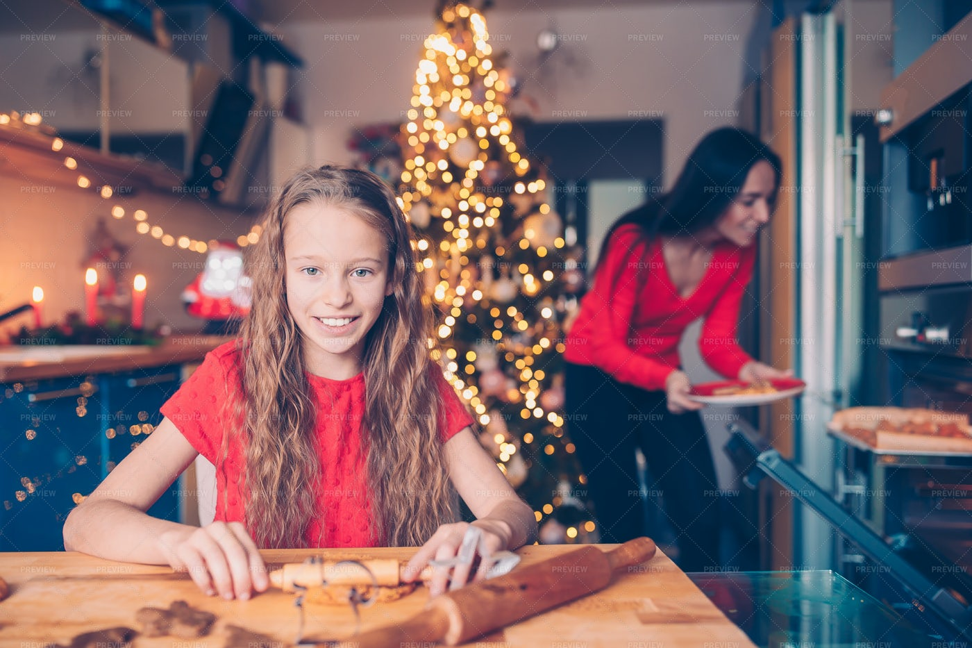 Girl Baking Cookies On Christmas: Stock Photos
