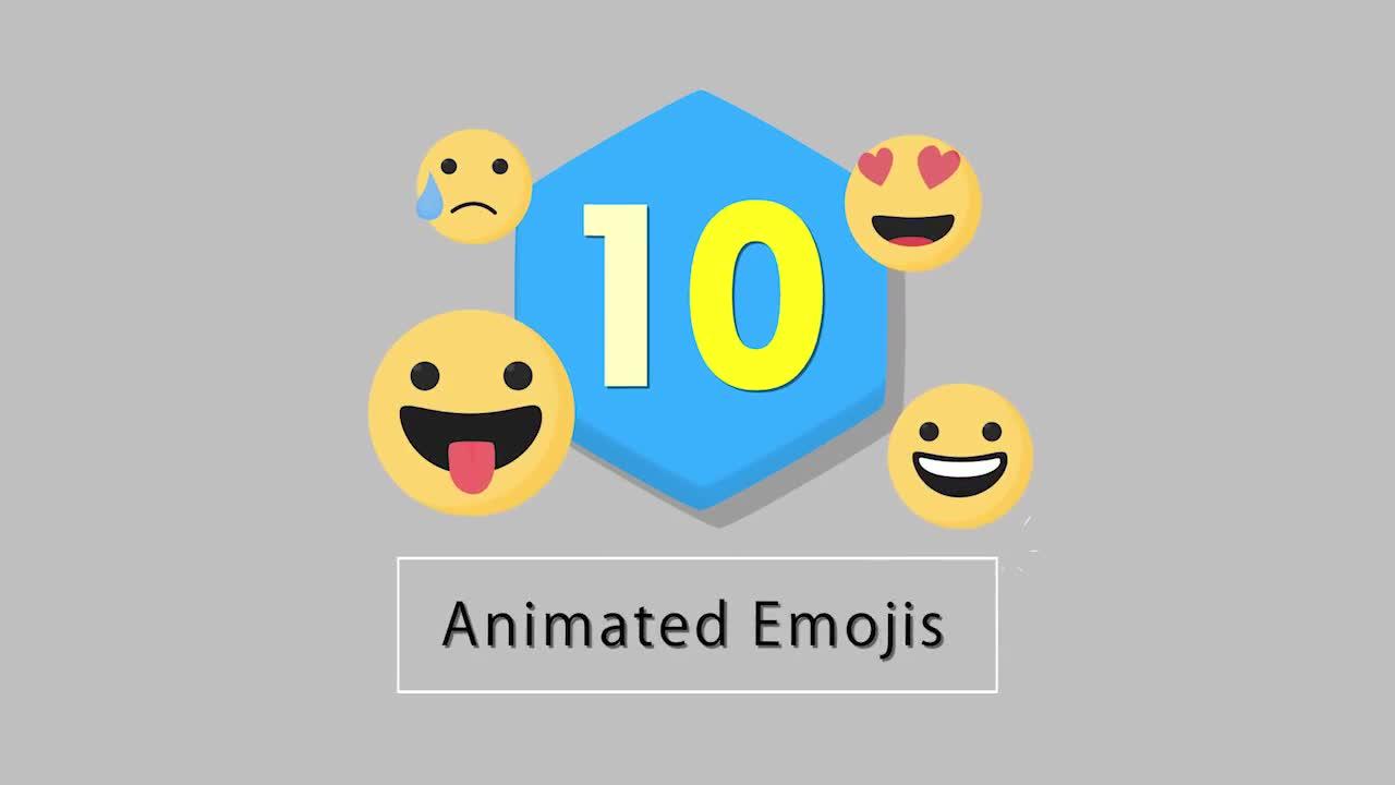 10 Flat Emoji Presets Pack V1 - After Effects Templates