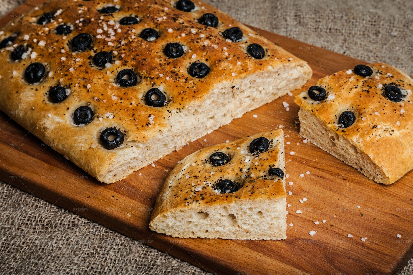 Homemade Bread With Olives: Stock Photos