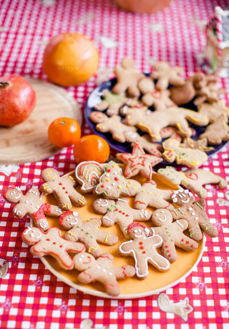 Gingerbread Cookies On Square Tablecloth: Stock Photos