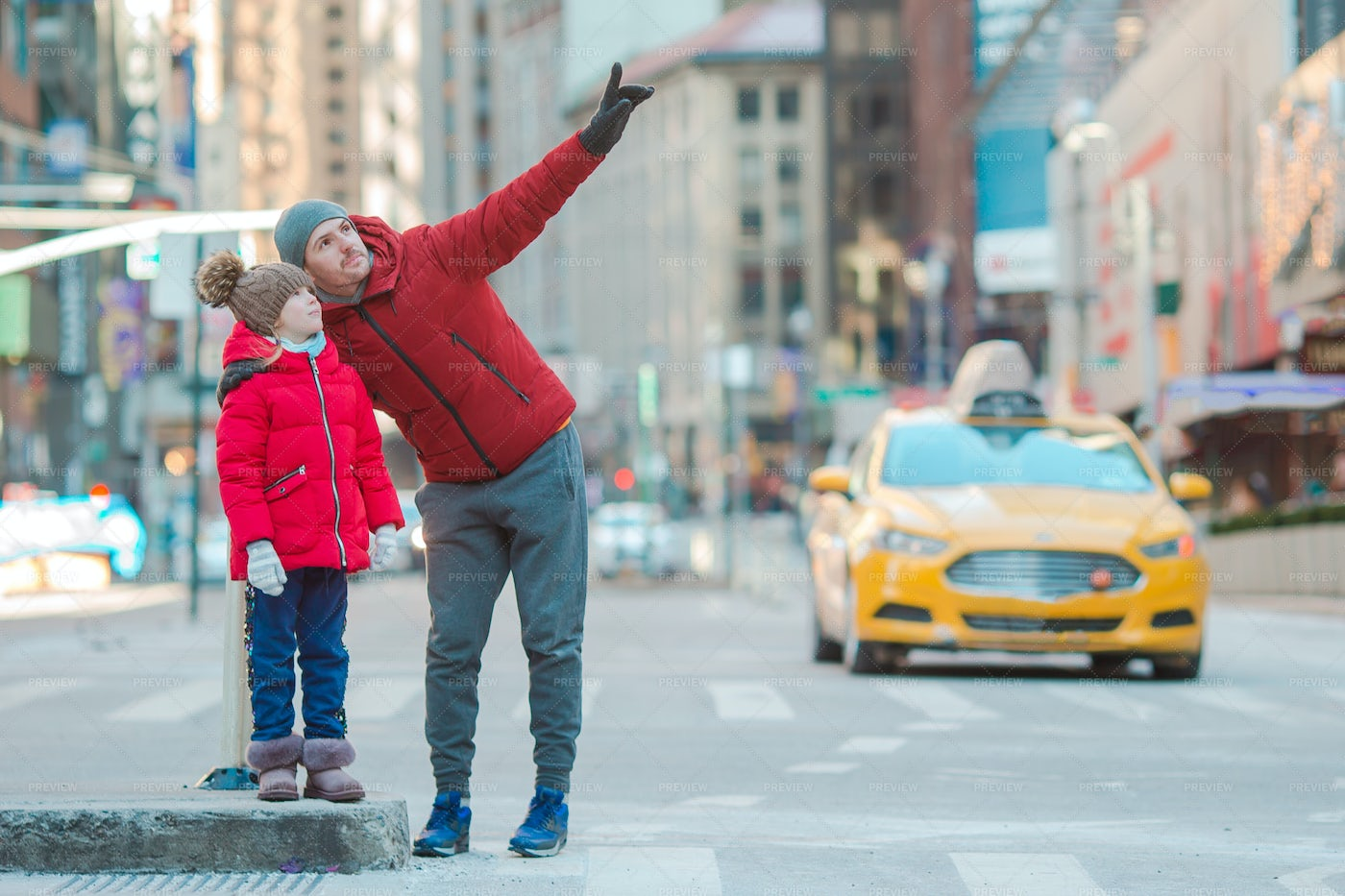 Father And Little Kid On Times Square: Stock Photos