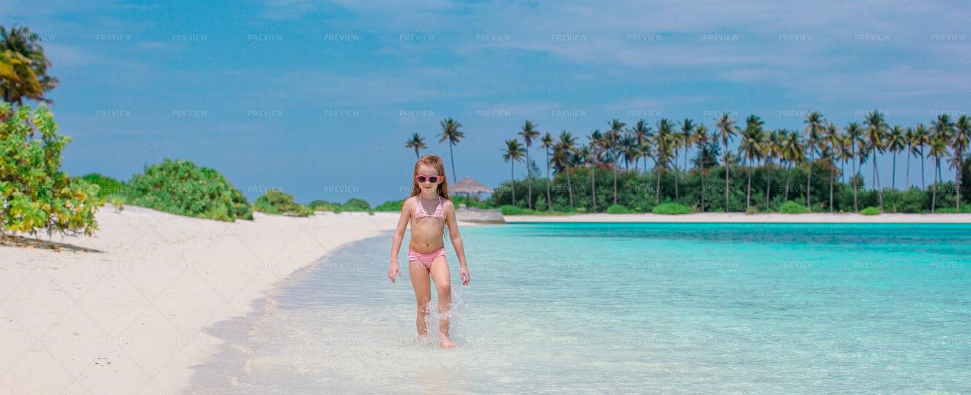 Adorable Little Girl During Beach Vacati: Stock Photos